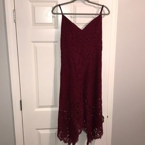 Lulus high low maroon lace dress